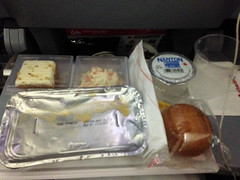 Alps Trip 0014d (mary2678) Tags: air berlin overseas flight airline airplane dinner food pasta brie bread roll carrot cake coleslaw water meal plane