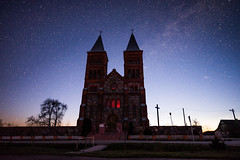 Corpus Christi Church (free3yourmind) Tags: corpus christi church architecture gothic catholic belarus night sky braslav stars іказнь беларусь касцёлбожагацела