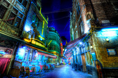Lonely Alley (Shoeven) Tags: street old brussels night town europe neon belgium restaurants wideangle des historic rue hdr cafes cafs bouchers