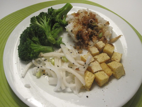 Leftover (tofu, rice daikon salad), broccoli