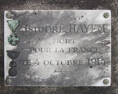 Isidore Hayem - Mort pour la France 1914 (Monceau) Tags: plaque soldier wwi medals mortpourlafrance isidorehayem