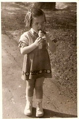 1955 me with an ice cream (elinor04) Tags: fashion kids vintage outdoors photo hungary budapest style 1950s homemadedress kidswear vintagefamilyphotocollection elinorsvintagefamilyphotocollection hungariancollection