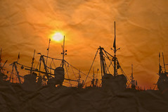 ~ go fishing ~ (tints n tones) Tags: ocean sea orange sun fish black silhouette boats fishing nikon vizag trawlers d90