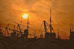 ~ go fishing ~ (tints n tones) Tags: ocean sea orange sun fish black silhouette boats fishing nikon vizag trawlers d90