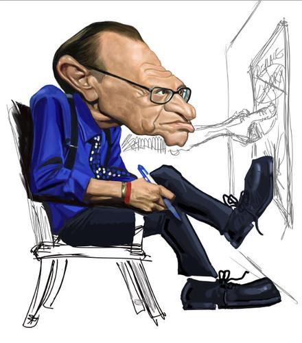 digital caricature of Larry King - idea 1