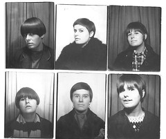 Diane Wood Photo booth pics 1960's (cheryldecarteret) Tags: white black scarf check pics crochet 1960s hairstyles suede mods maryquant dufflecoat
