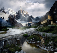 Il castello nella valle (simpli58) Tags: bridge sky mountain snow color castle art water clouds pencil photoshop river painting landscape stones digitale manipulation brush fantasy valley effect castello matte mattepainting idream saariysqualitypictures capturethefinest