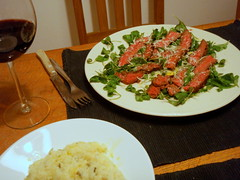 Rump steak tagliata with rocket and parmesan