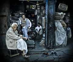 Typical sitting postures! (Yug_and_her) Tags: old people india men rock shop fan junk nikon waiting sitting market stones candid pillar oldman musical instrument typical visitor poses rajasthan textured tabla jodhpur shopkeeper postures d90