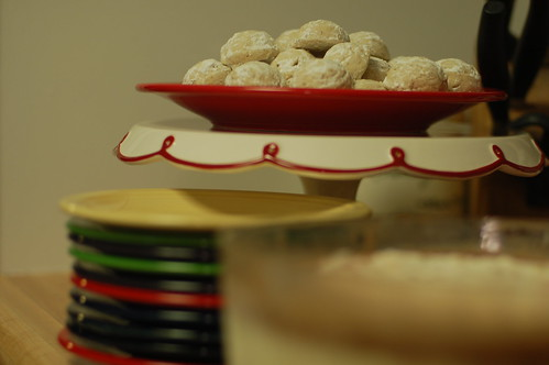 Italian wedding cookies and spumoni