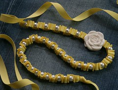 Kristin Ribbon Ruffles and Pearls Necklace (twillypop) Tags: flower yellow lemon sunny ribbonnecklace twillypop