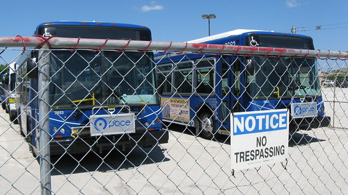 Temporary bus storage facility at the Metra, Lake Cook Road commuter rail station. Deerfield Illinois. June 2010. by Eddie from Chicago