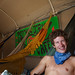 "Ben from East Lansing, Michigan drove for four days to get to the desert. He and his girlfriend Lexy were drawn to the ""comfyness"" of the hammocks at the the Psychic Taxi Nomadic Cafe around the keyhole from Center Camp."