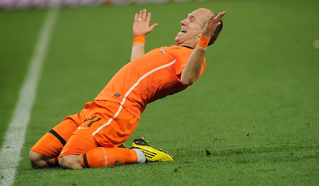 Holland Uruguay Arjen Robben celebrates