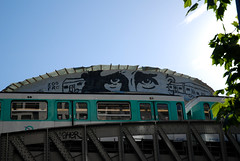 zoo project (lepublicnme) Tags: blue sky streetart paris france train graffiti metro july railways 2010 zooproject