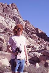 portrait (AVIXimagery) Tags: california camera blue red portrait sky mountains hair photography glasses friend rocks desert joshuatree