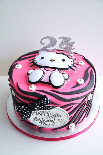 Hello Kitty Zebra Print Cake