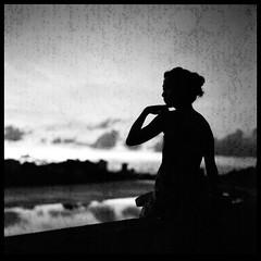 "Hand (Lefty Jor) Tags: sunset sky bw hk reflection 120 6x6 film water girl silhouette clouds river t hongkong shanghai kong hasselblad misu planar 500cm carlzeiss ""hong gp3 80mmf28"