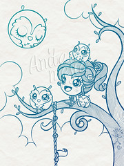 August Moon lineart (Anita Mejia) Tags: moon tree cute illustration traditionalart august kawaii greetingcard owls ilustracion bunnygirl inks chocolatita anitamejia