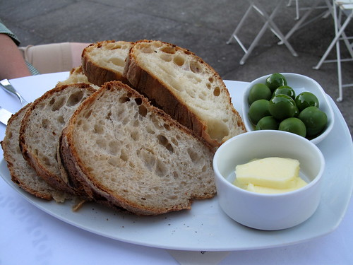 Bread, butter and olives at DOC
