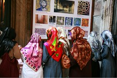 Reading the board. (digifancanon) Tags: travel ladies church colors fashion modern canon turkey colorful islam religion wideangle clothes impressions islamic opposition turbans orthdox             ef24105mm40l    funtamedalist