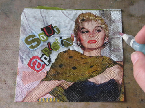 Napkin Collage - Simple Card 004
