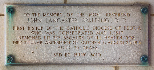 Cathedral of Saint Mary of the Immaculate Conception, in Peoria, Illinois, USA - memorial plaque for Bishop Spalding