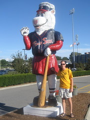 Amy outside the stadium, with Sox