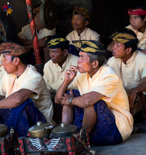 Gamelon Orchestra on Break.  Rambitan Village. South Lombok, Indonesia 2010