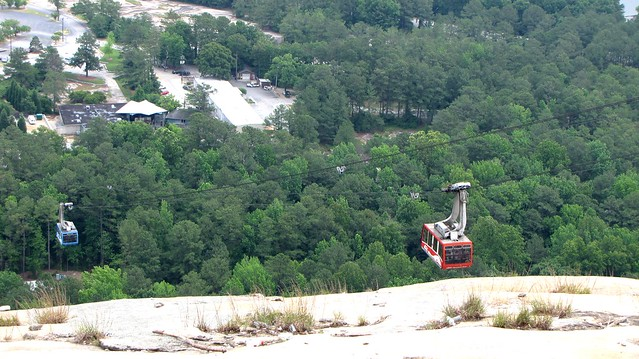 Cable car leading up to Stone Mountain