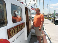 One of the expedition leaders, John Wise, aboard the Odyssey.