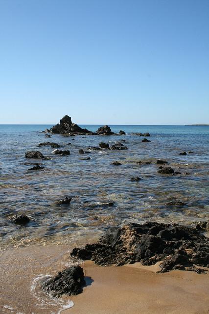 Horizonte, agua, arena