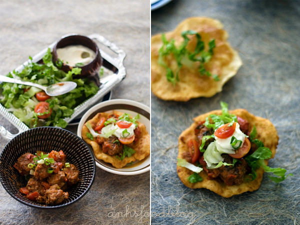Fry bread taco with Mexican spicy meatballs