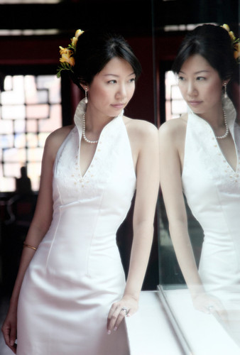 Mandarin Collar White Wedding Cheongsam