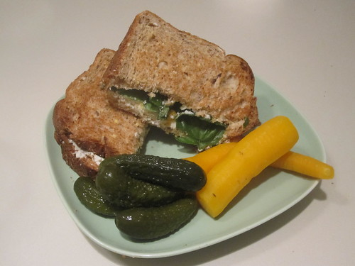cheese and basil sandwich, carrot, pickles