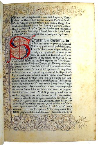 Seven Line Initial 'S' from 'Scrutinium Scripturarum'