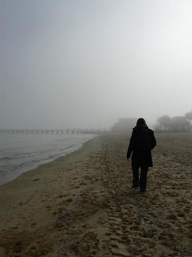 Angelica on the foggy beach