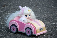 ADAW 29/52: Headin' down the highway... (esmereldes) Tags: pink cars car doll dolls driving dal convertible cait toycar milch woodencar img0902 dals