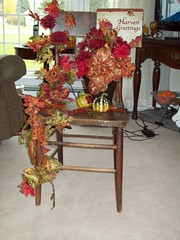 Decorated Fall Chair! (Florals by Order!) Tags: autumn holiday fall pumpkins seasonal porch falldecorations falldecor autumndecor fallfloraldecorations fallfloralitems