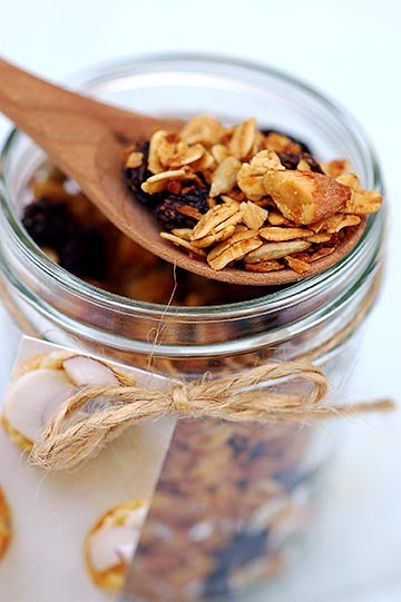 jar of maple almond granola
