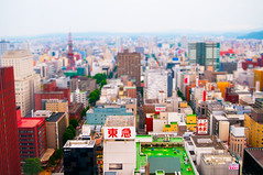 ~190~ Sapporo (mikomiao) Tags: city color colors japan sapporo saturated hokkaido 2010 yip tiltshift viewfromthehotelwindow coloury