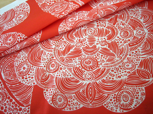 Fabric Dahlias in red