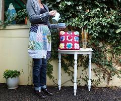 Grandma's garden cushion finished (Loving The Vintage) Tags: handmade apron needles crocheted cushion rivercottage coffepot theroyalsisters lovingthevintage grandmasgardencushion
