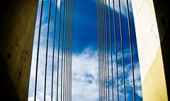 atirantado... (Paco Espinoza Photography) Tags: door blue sky rio mxico puente gate ciudad nuevoleon construccion monterrey cluds icono simbolo puentedelaunidad tirantes atirantado flickrfrid