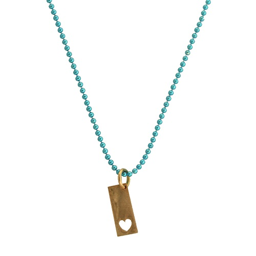 Gold Rectangle Charm with a Heart Cutout by Allumer.