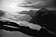 Above The Clouds, View From Whatcom Peak, In The North Cascades, Washington State (Gerald L. Campbell) Tags: blackandwhite bw clouds blackwhite tmax vista washingtonstate northcascades olympusom2n scenicphotography whatcompeak 28mmzuikolens minoltamultiproscanner