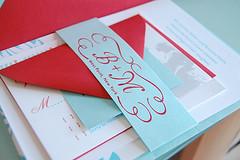 Wedding Invitation (creativelyspun) Tags: wedding red modern fun aqua gocco invitation