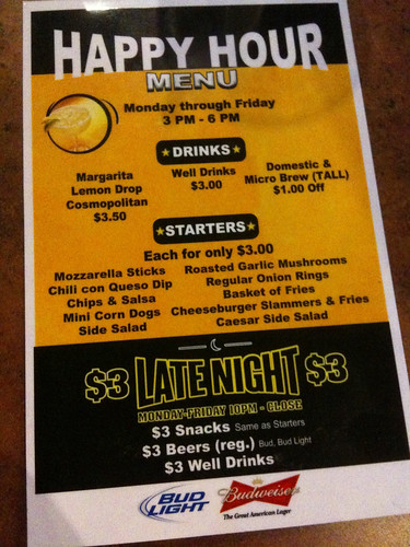 Drinks: The Buffalo Wild Wings Late night happy hour includes $3 or $5 appetizers, dishes and late night drink specials. Well Drinks and Regular Beers for $3, Draft Pins for $3,50, Margaritas for $3,