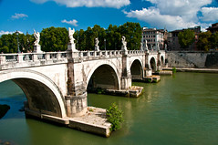 Ponte Sant'Angelo (LimeWave Photo) Tags: city travel italien bridge blue sky italy rome roma river movie italia capital ponte tiber rom lazio rm angelsanddemons pontesantangelo romanbridges aelius aelian limewave