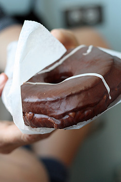 chocolate-covered doughnut